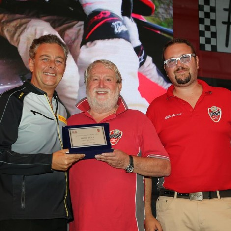 """Monza Fuori GP, """"Motorsport Passion"""", 1 September 2018: the Scuderia gives an award to Mario Isola."""