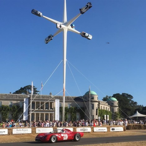 Goodwood Festival of Speed 2018: Marco Cajani on the Alfa Romeo Tipo 33/2 Fléron darts in front of the Goodwood House.