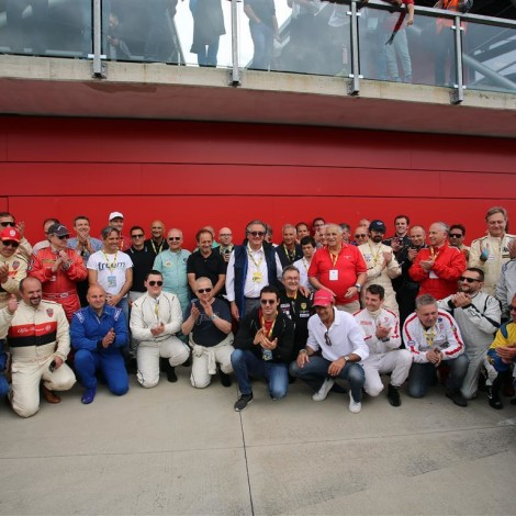 Imola, Historic Minardi Day 2018: the gentlemen drivers of the Scuderia del Portello with the F1 icons who attended the event.